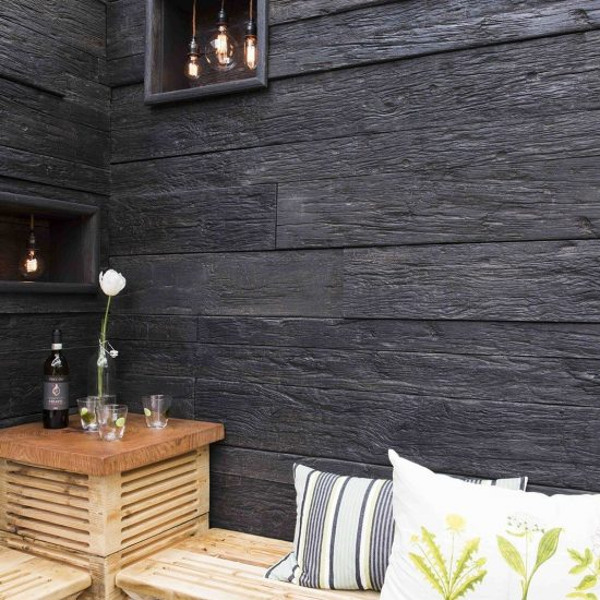 weathered emberred wall decking