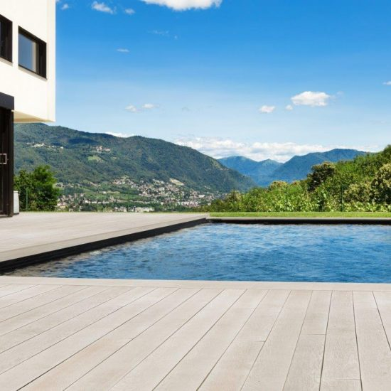 Limed swimming pool decking